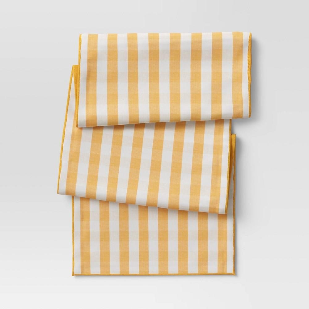 72 34 X 14 34 Cotton Gingham Check Table Runner Yellow Threshold 8482