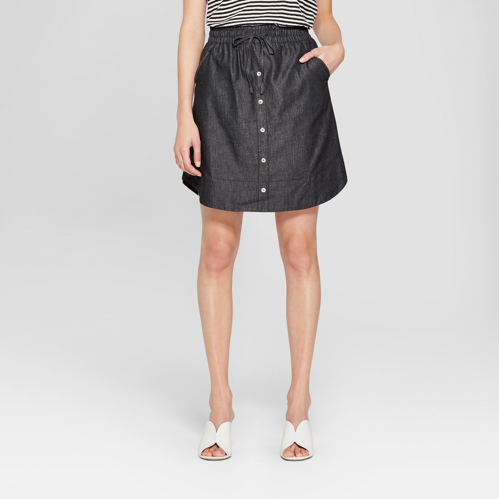 Image of Women's Denim Mini Skirt with Tie Waist - K by Kersh Black XL, Size: XL