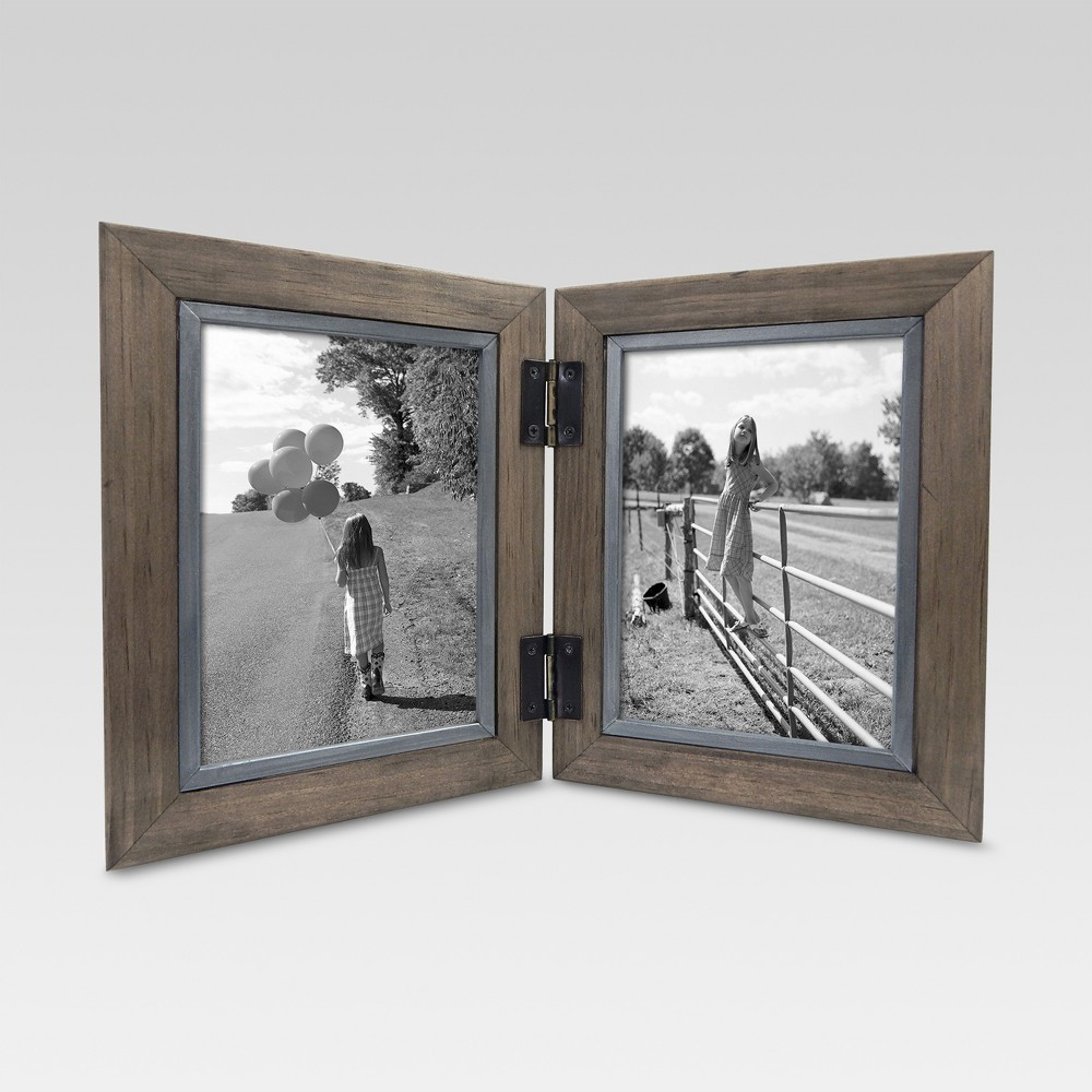 "Image of ""2 Opening Hinged Windowpane Frame 5""""x7"""" Coffee - Threshold"""