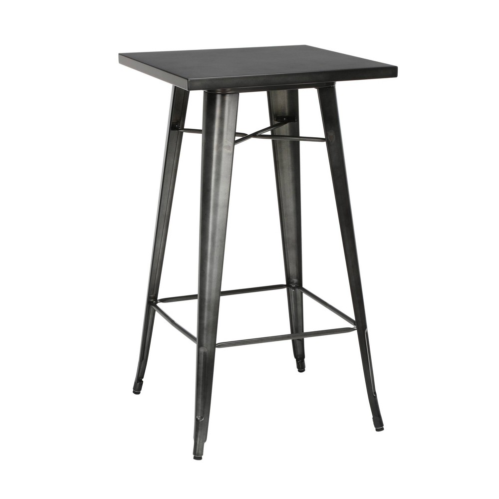 "Image of ""24"""" Industrial Modern Square Bar Table Galvanized Steel Indoor/Outdoor Table Gunmetal - OFM, Grey"""