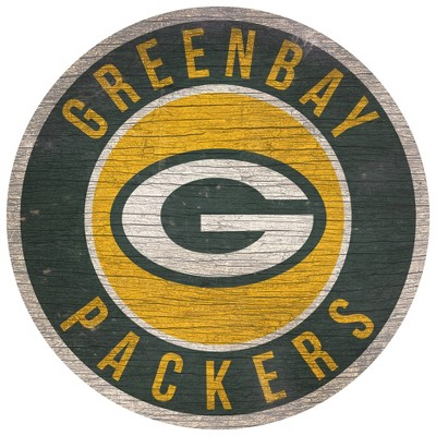 NFL Green Bay Packers Retro Circle Wooden Wall Art - 12""