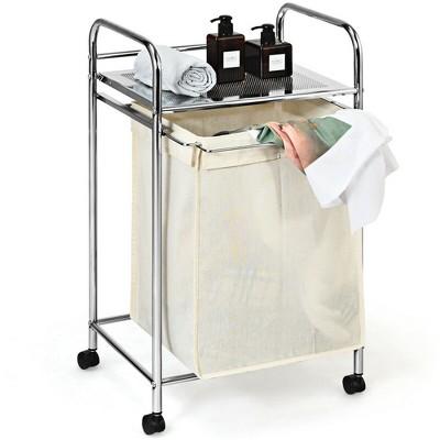 Costway Laundry Cart Laundry Hamper Basket Cart w/Rolling Wheels Shelf & Removable Bag