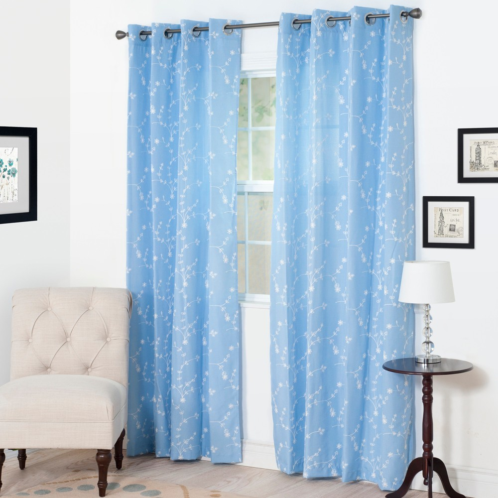 Yorkshire Home Inas Embroidered Curtain Panel - 95 - Light Blue