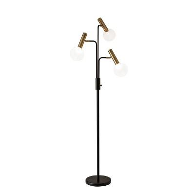 "70"" Sinclair 3 Arm Floor Lamp (Includes LED Light Bulb) Black - Adesso"