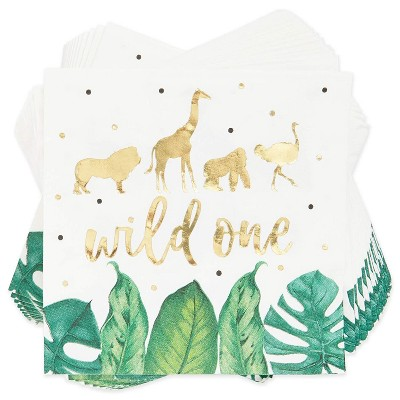 Sparkle and Bash 50-Pack Wild One Safari Disposable Paper Napkins 1st Birthday Party Supplies