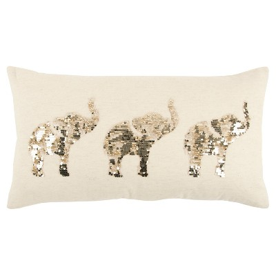 White And Champaign Elephants Throw Pillow - Rizzy Home