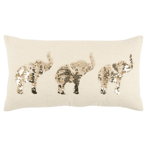 White And Champaign Elephants Throw Pillow - Rizzy Home - image 1 of 3