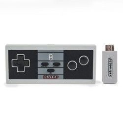 Retro-Bit NES Style Wireless Pro Controller Compatible with NES Classic Edition / Nintendo Wii / Wii U - Classic Color (+ Micro USB Charger Cable)