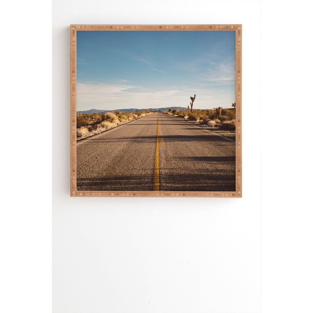"Image of ""12"""" x 12"""" Bethany Young Photography Joshua Tree Road Framed Wall Art Blue - Deny Designs, Size: 12""""x12"""""""