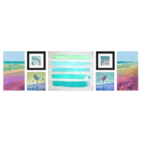 "Journey Framed Wall Canvas Aqua (52""x15"") - image 1 of 1"