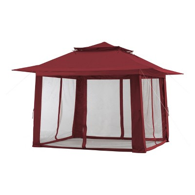 13'x13' Red Pop-up Gazebo with Netting and Curtain Red - Sunjoy