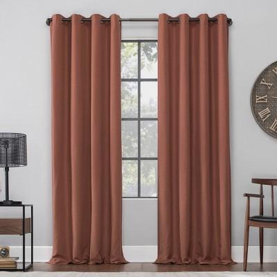 """63""""x52"""" Linen Blend Blackout Grommet Top Curtain Orange - Archaeo"""