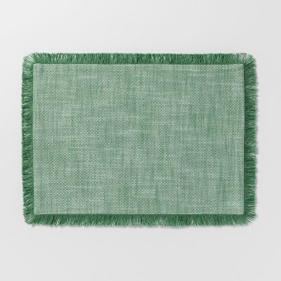 19 x14  Chambray Fringe Placemat Green - Threshold™