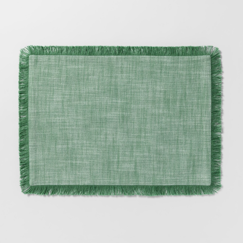 """Image of """"19""""""""x14"""""""" Chambray Fringe Placemat Green - Threshold"""""""