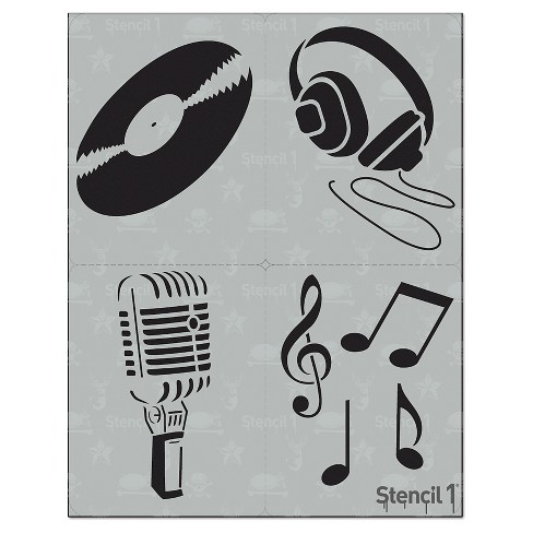 "Stencil1 Music Multipack 4ct - Stencil 8.5"" x 11"" - image 1 of 3"