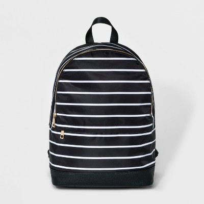 Striped Printed Dome Nylon Backpack - A New Day™ Black
