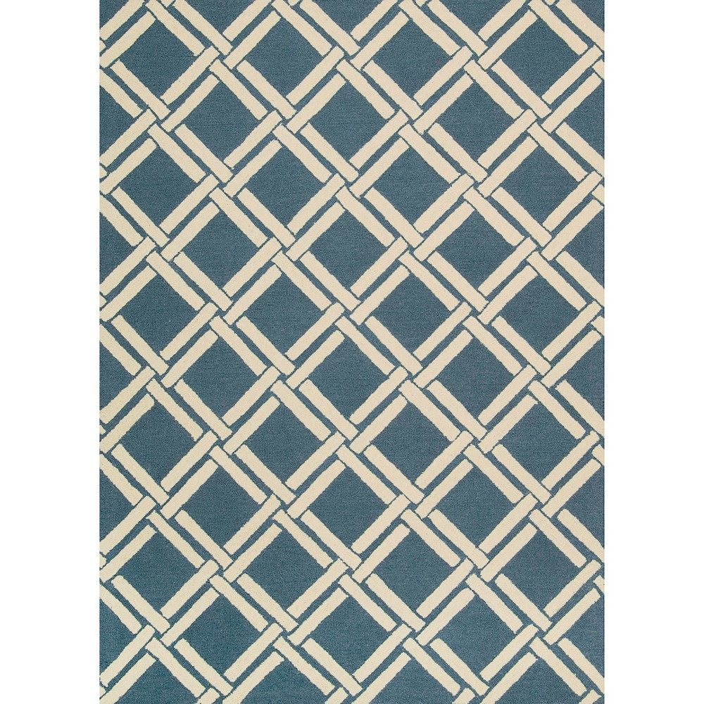 Image of Nourison Diamond Lattic Linear Area Rug - Teal/Ivory (Blue/Ivory) (8'X11')