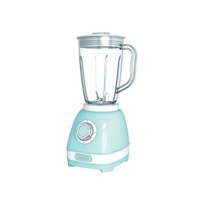 Brentwood JB-330BL Retro 2 Speed and Pulse Electric Kitchen Blender w/ Glass Jar and Stainless Steel Blades for Smoothies, Shakes, and More, Blue