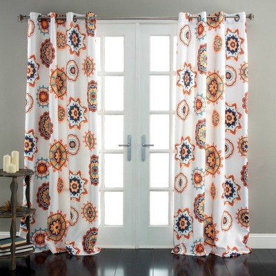 """84""""x52""""Adrianne Curtain Panel Light Filtering White/Orange - Triangle Home Fashions"""