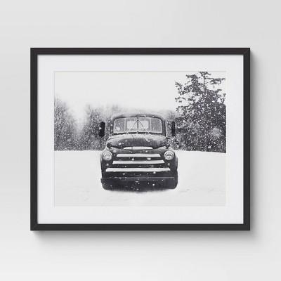 "24"" x 20"" Winter Truck Framed Wall Print - Threshold™"