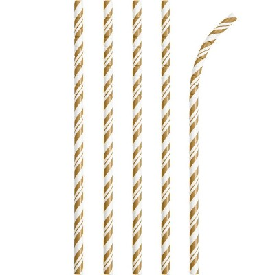 Gold and White Striped Paper Straws - 24 Pack