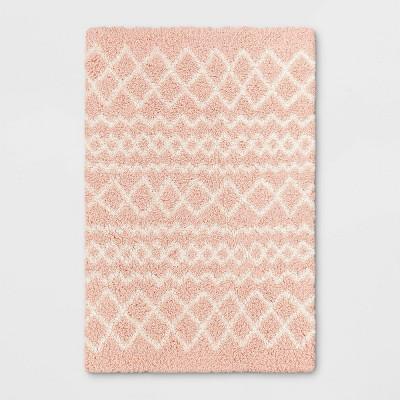 4'x6' Geometric Shag Area Rug Pink/Cream - Pillowfort™