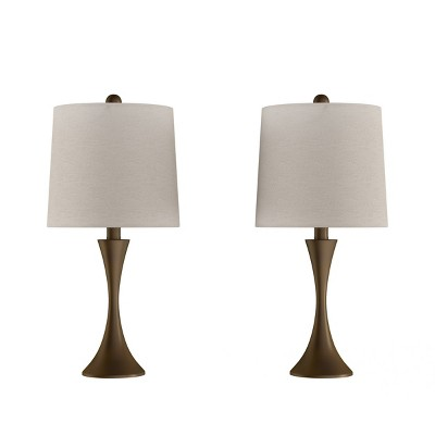 Set of 2 Flared Trumpet Table Lamps (Bronze)