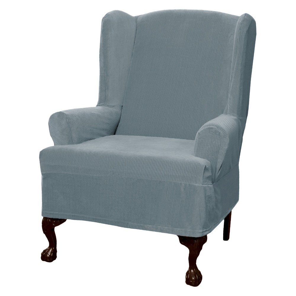 Image of Blue Collin Stretch Wingchair Slipcover - Maytex