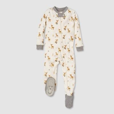 Burt's Bees Baby® Baby Girls' Deer Organic Cotton Footed Sleepers - Yellow/Off White 12M