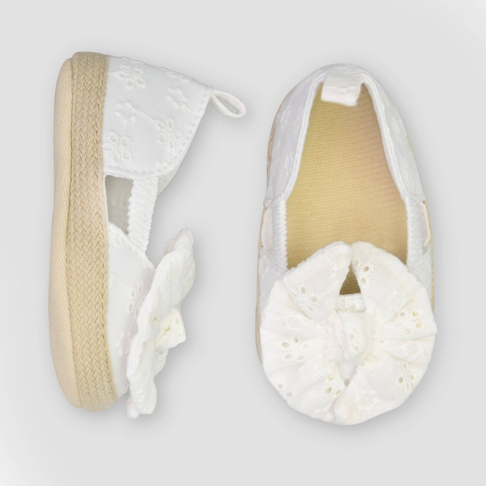 Image of Baby Girls' Eyelet Espadrille - Just One You made by carter's White 0-3M, Girl's, Size: Small