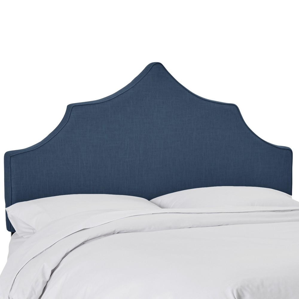 Upholstered Notched Headboard California King Linen Navy - Skyline Furniture