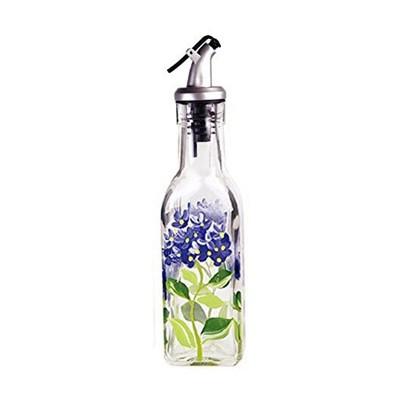Grant Howard 6 Ounce Home Kitchen Hand Painted Blue Hydrangeas Glass Oil Vinegar Cruet Bottle for Salad Dressing and Dish Soap