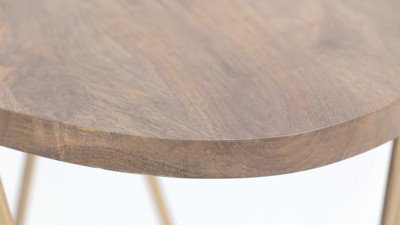 """18"""" Tillman Metal And Wood Accent Table Natural/Gold - Wyndenhall : Target"""