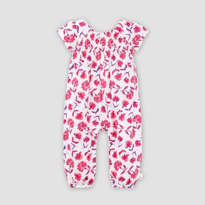 Burt's Bees Baby® Baby Girls' Organic Cotton Floral Spring Picks Jumpsuit - White/Pink 12M