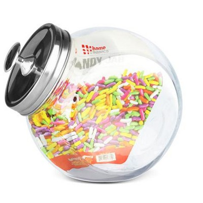 Home Basics Medium 57.48 oz. Round Glass Medium Candy Storage Jar with Stainless Steel Top, Clear