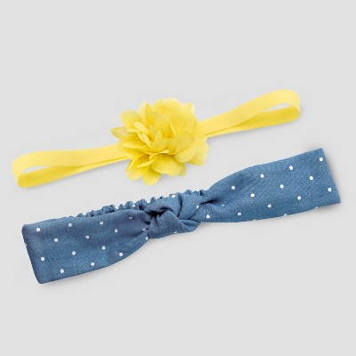 Baby Girls' 2pk Bow & Chambray Headwraps - Just One You® made by carter's Yellow/Blue One Size