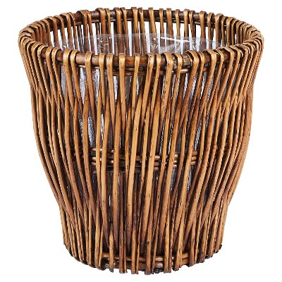 Household Essentials - Small - Reed Willow Waste Basket - Brown