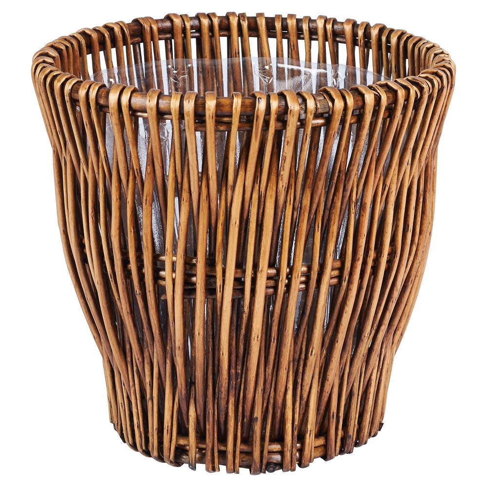 Image of Household Essentials - Small - Reed Willow Waste Basket - Brown