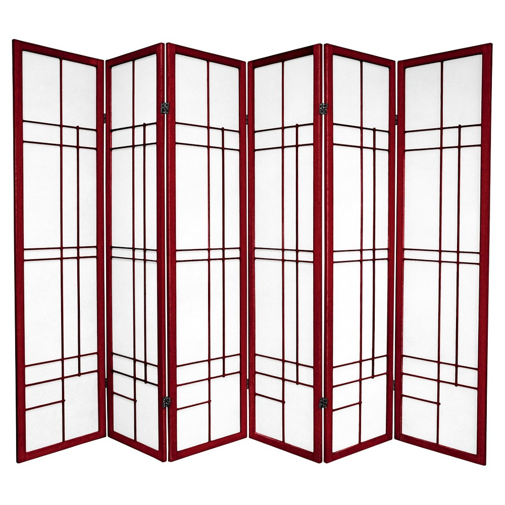 6 ft. Tall Eudes Shoji Screen - Rosewood (6 Panels), Red