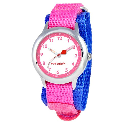 Disney Girls' Red Balloon Stainless Steel Time Teacher Watch - Pink - image 1 of 2