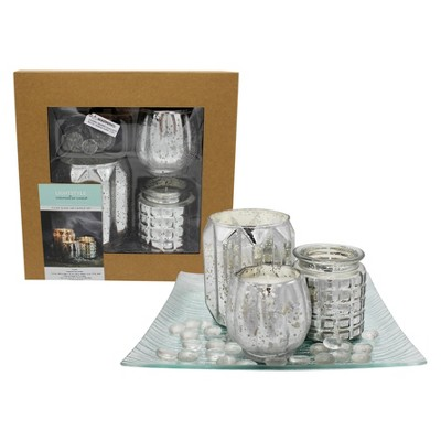 Mercury Jars with Plate and Clear Gems Giftset Fragrance Free 3ct - Chesapeake Bay Candle
