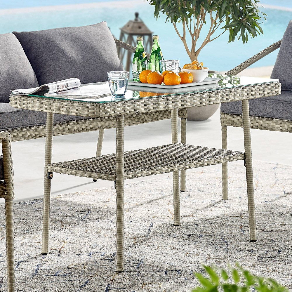 "Image of ""42"""" x 26"""" All-Weather Wicker Windham Outdoor Cocktail Table Gray - Alaterre Furniture"""