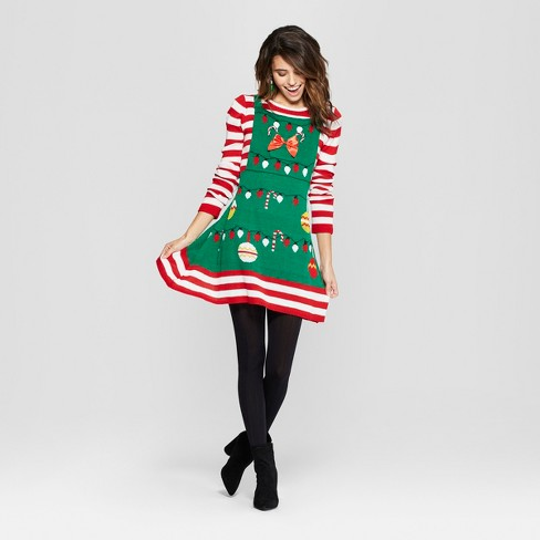 Women's Ugly Christmas Candy Cane Striped Dress - Born Famous (Juniors') Red - image 1 of 2