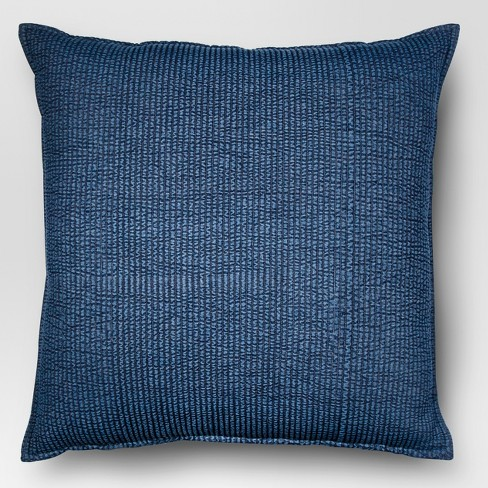 Oversized Square Quilted Solid Pillow Chambray - Threshold™ - image 1 of 1