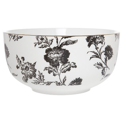 Clay Art Bowl 32oz Porcelain - Black Floral