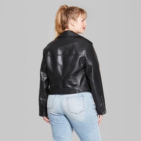 5a0f49eeaef Women s Plus Size Faux Leather Moto Jacket - Wild Fable™ Black   Target