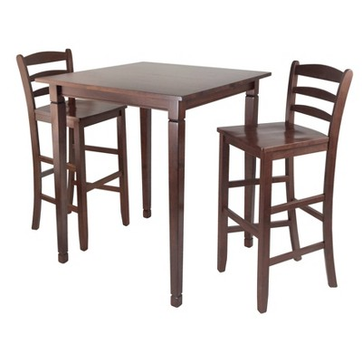 3pc Kingsgate Counter Height Dining Set with Ladder Back Bar Stools Wood/Walnut - Winsome