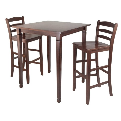 3 Piece Kingsgate Set High Table with Ladder Back Bar Stools Wood/Walnut - Winsome - image 1 of 4