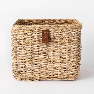 "Decorative Cube Basket with Leather Pull 13"" x 11"" Natural - Threshold™ designed with Studio McGee"