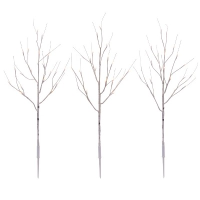 3ct Christmas LED Twig Stakes Birch Warm White - Wondershop™